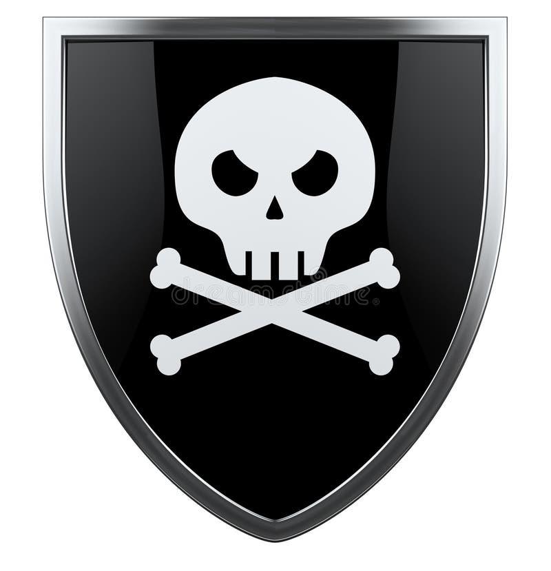 Piratkopiera skallen med korsade ben stock illustrationer