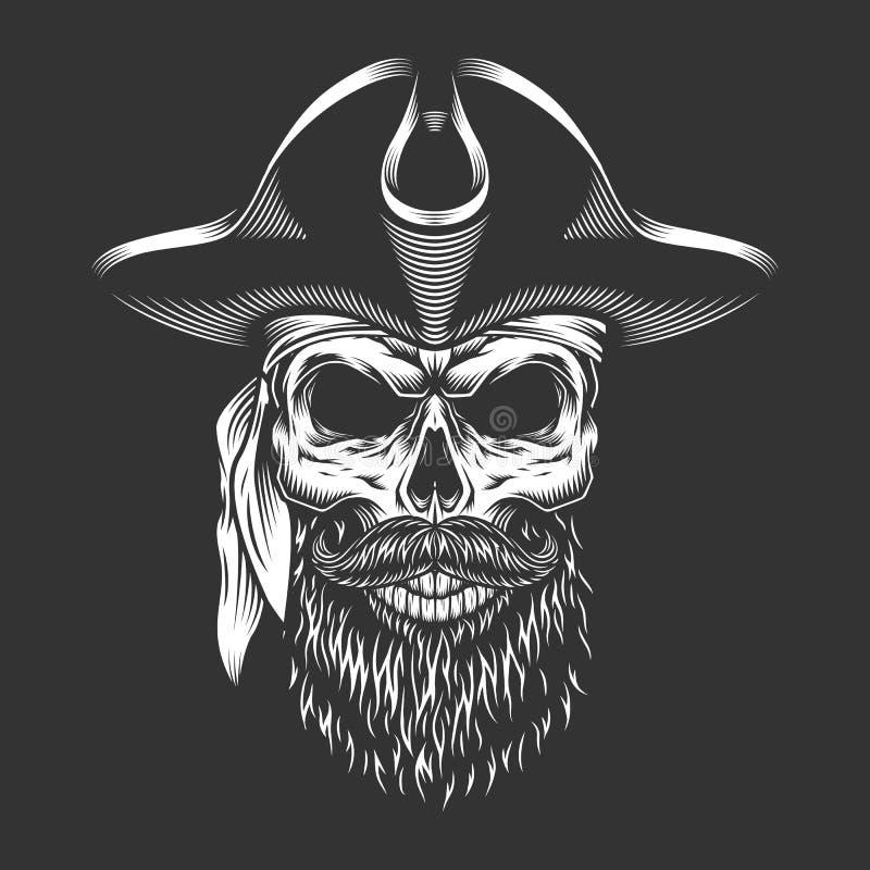 Piratkopiera skallen med skägget och mustaschen stock illustrationer