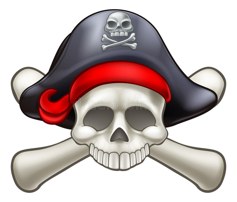 Piratkopiera skallen och crossbones stock illustrationer