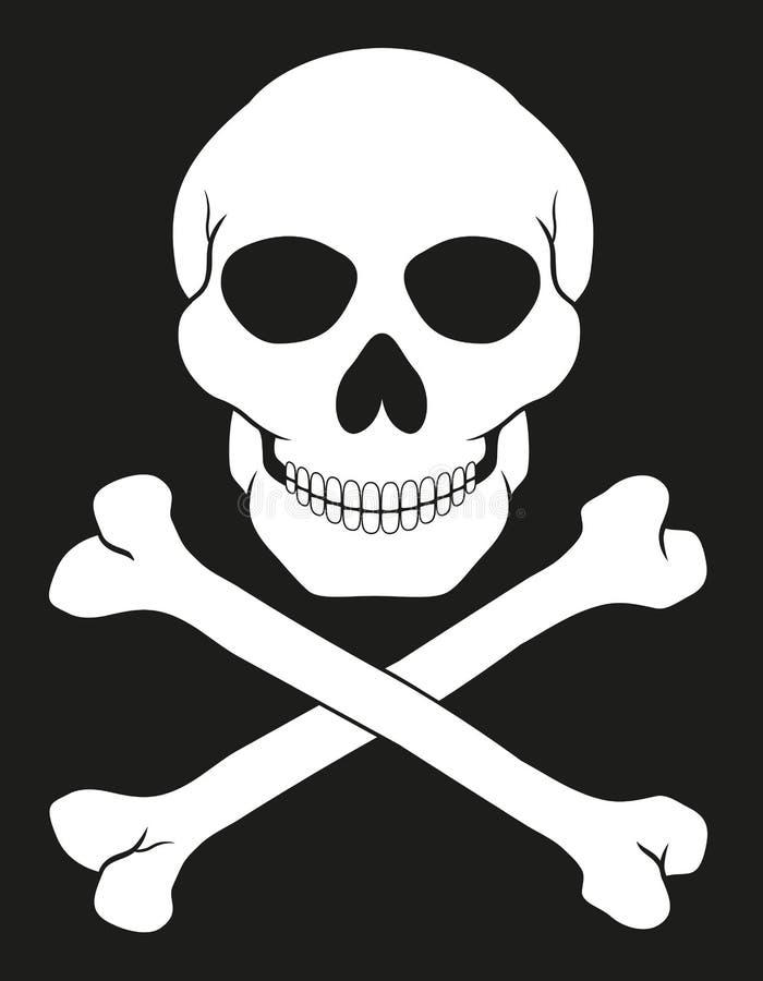 Piratkopiera skallen och korslagda benknotorvektorillustrationen royaltyfri illustrationer