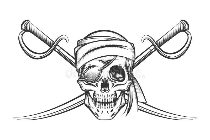Piratkopiera skallen och två korsa svärd vektor illustrationer
