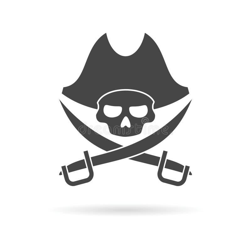 Piratkopiera skallesymbolen stock illustrationer