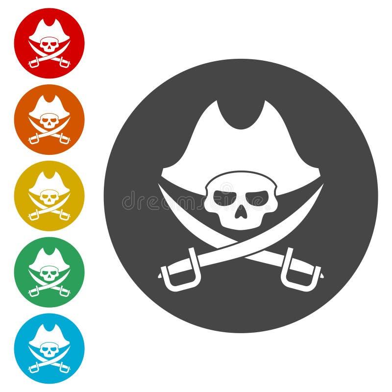 Piratkopiera skallesymbolsuppsättningen stock illustrationer