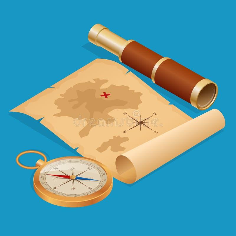 Piratkopiera skattöversikten på ett förstört gammalt pergament med den isometriska illustrationen för kikare- och kompassvektorn vektor illustrationer
