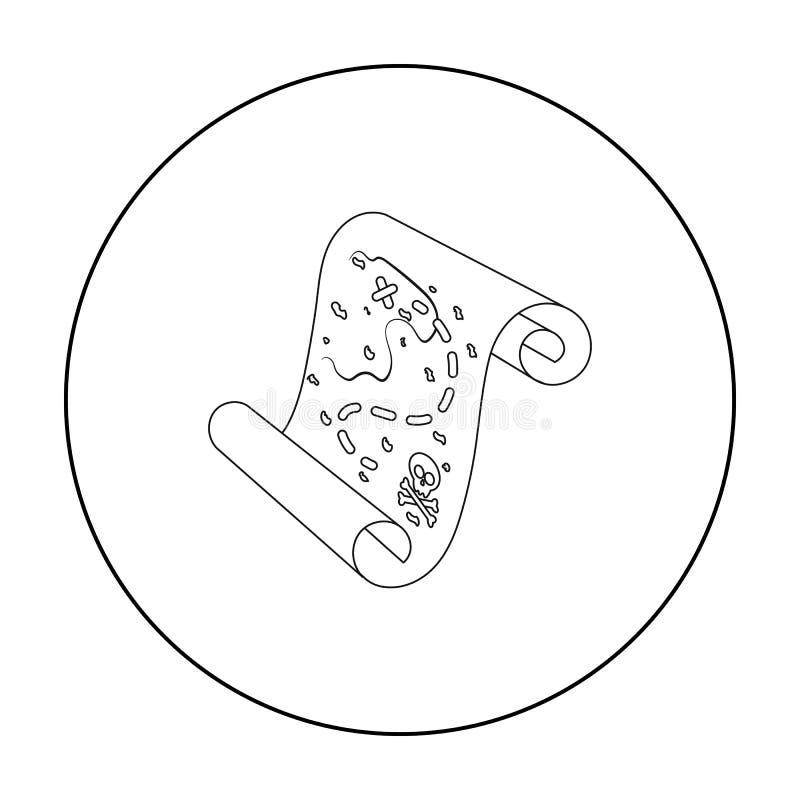 Piratkopiera skattöversiktssymbolen i översiktsstil som isoleras på vit bakgrund Piratkopierar illustrationen för symbolmaterielv stock illustrationer