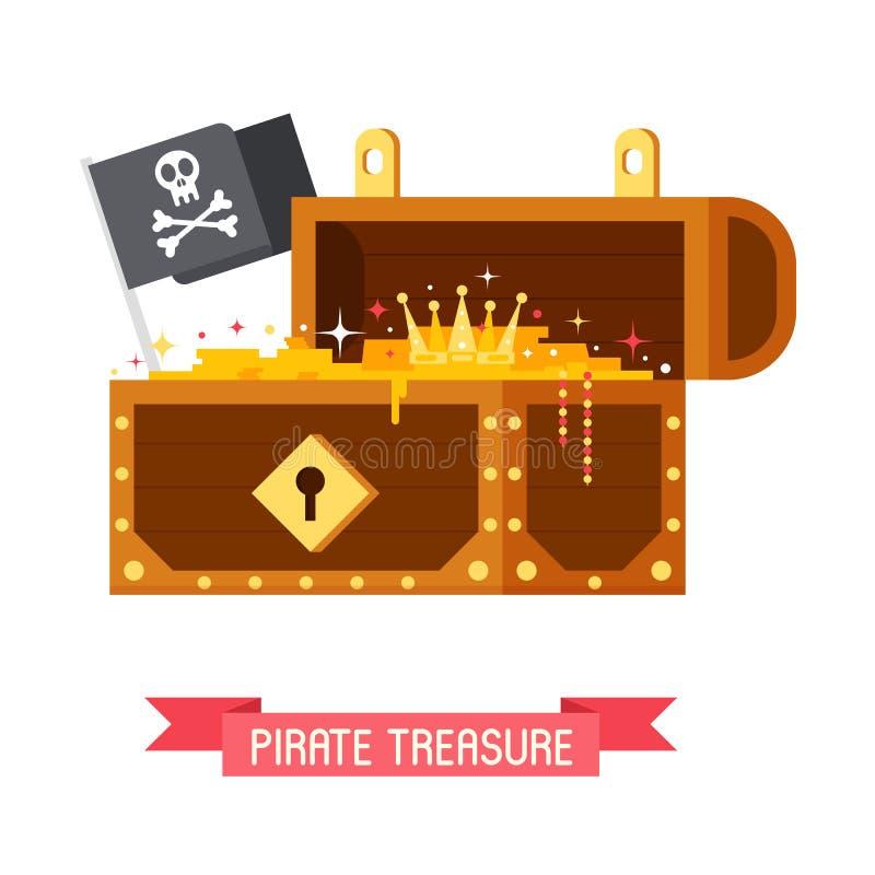 Piratkopiera skattbröstkorgen och Jolly Roger Flag stock illustrationer