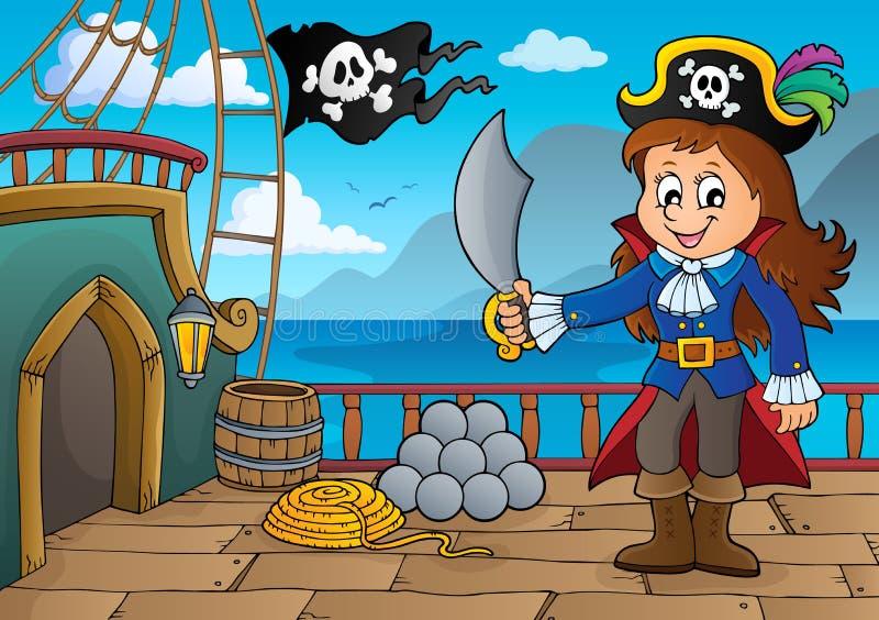 Piratkopiera skeppdäckämne 7 stock illustrationer