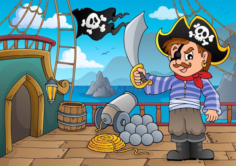 Piratkopiera skeppdäckthematics 3 vektor illustrationer