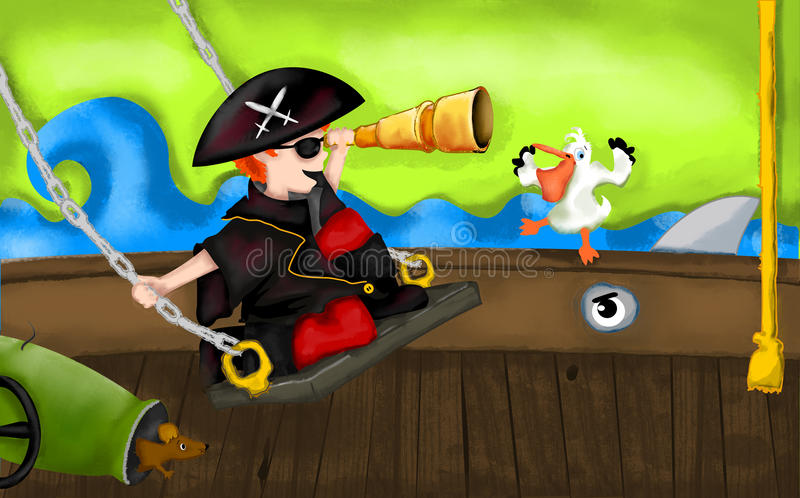Piratkopiera skeppet vektor illustrationer