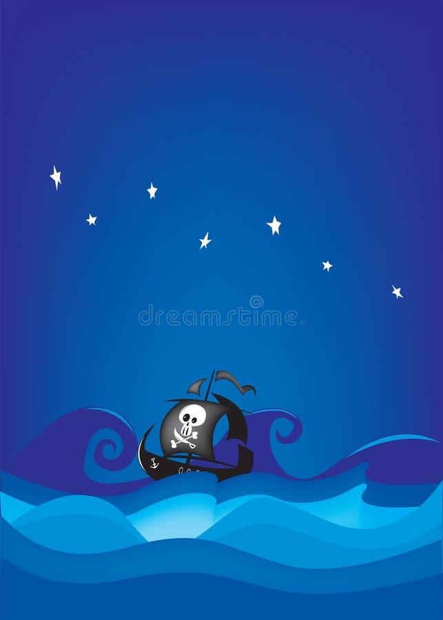 Piratkopiera skeppet, det stormiga havet royaltyfri illustrationer