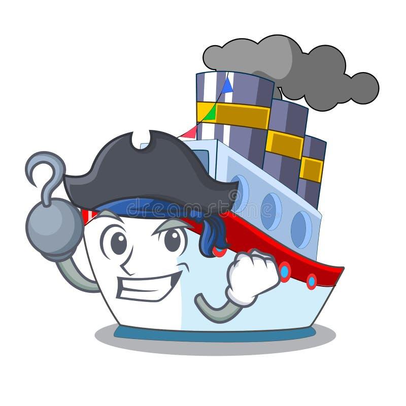 Piratkopiera skeppet i trans.havmaskot royaltyfri illustrationer