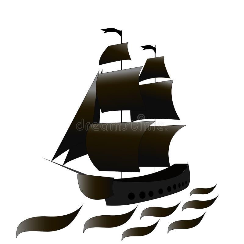 Piratkopiera skeppet med svart seglar på havet också vektor för coreldrawillustration royaltyfri bild