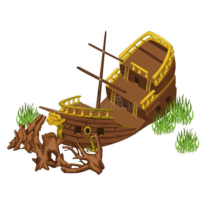 Piratkopiera skeppet och stammar av träd, vektor royaltyfri illustrationer