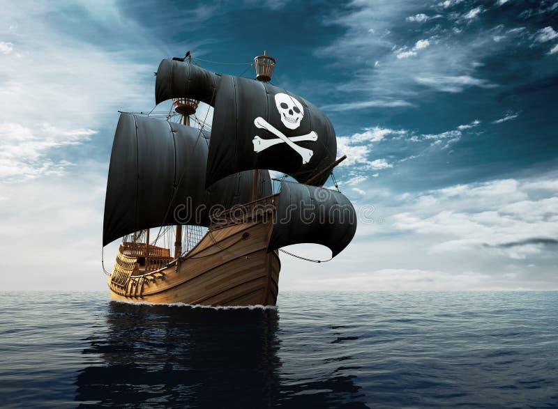 Piratkopiera skeppet på sjögångarna vektor illustrationer
