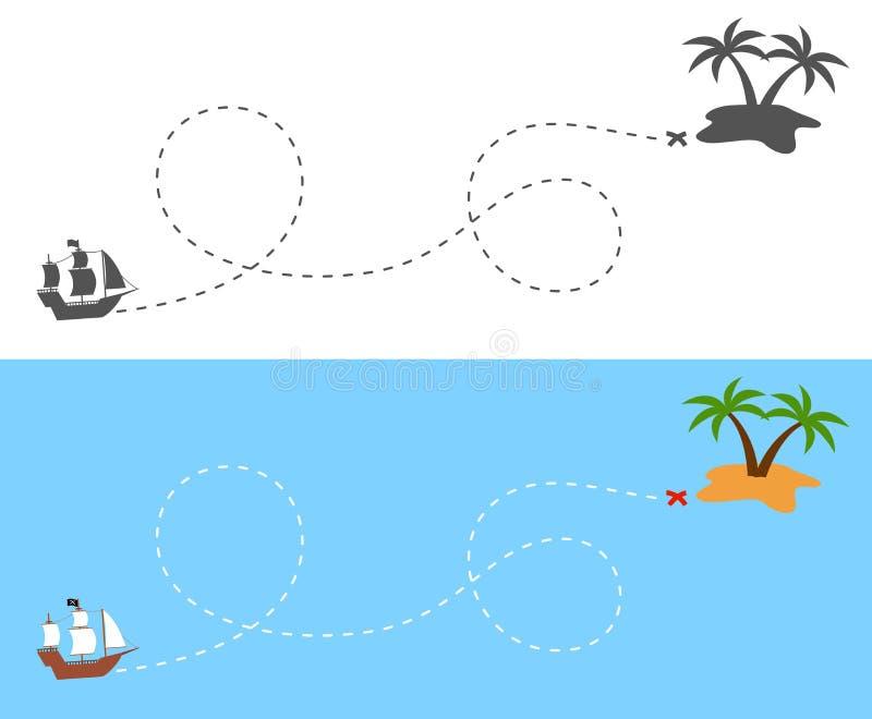 Piratkopiera skeppseglingrutten till ön royaltyfri illustrationer