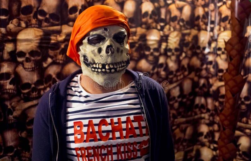 Piratkopiera skräckmaskeringen halloween Frenchkiss fotografering för bildbyråer
