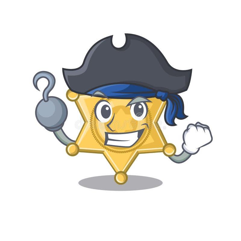 Piratkopiera stjärnaemblempolisen som isoleras i maskot royaltyfri illustrationer