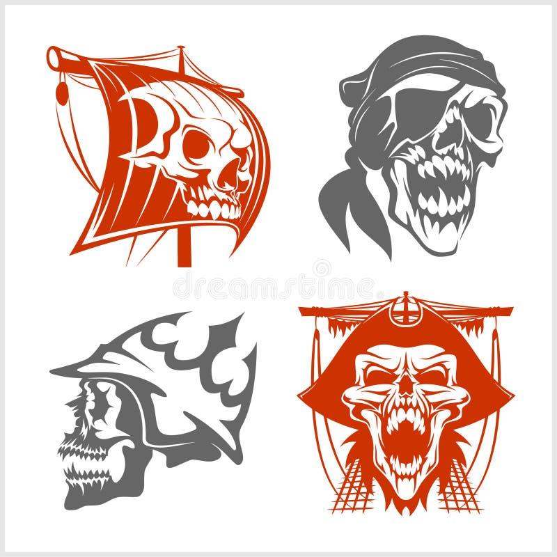 Piratkopiera symboler - emblemuppsättning vektor illustrationer