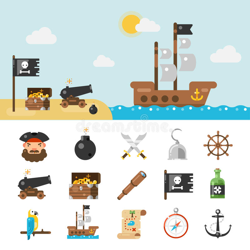 Piratkopiera symboler och den fulla illustrationen vektor illustrationer