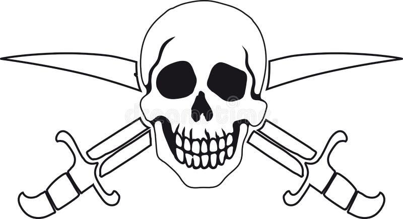 Piratkopiera symbolet glade roger royaltyfri illustrationer