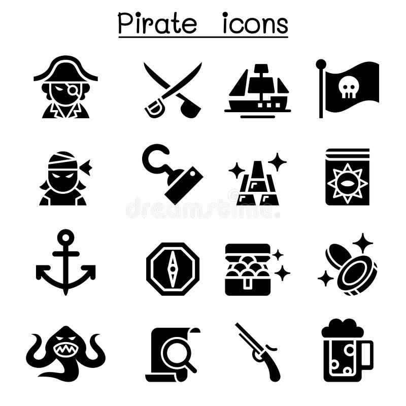 Piratkopiera symbolsuppsättningen stock illustrationer
