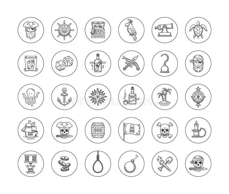 Piratkopiera symbolsuppsättningen vektor illustrationer