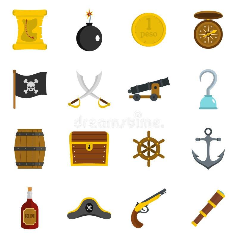 Piratkopiera symbolsuppsättningen i plan stil stock illustrationer
