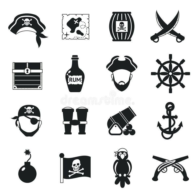 Piratkopiera symbolsuppsättningsvart stock illustrationer