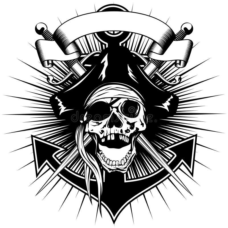 Piratkopiera teckenskallen stock illustrationer