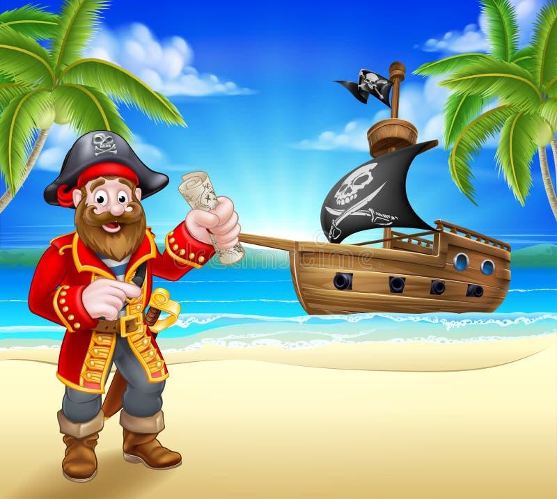 Piratkopiera tecknad filmteckenet på stranden vektor illustrationer