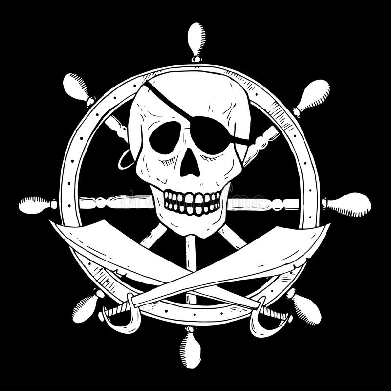 Piratkopiera tecknet med skallen och sablar med en roder på bakgrund vektor illustrationer