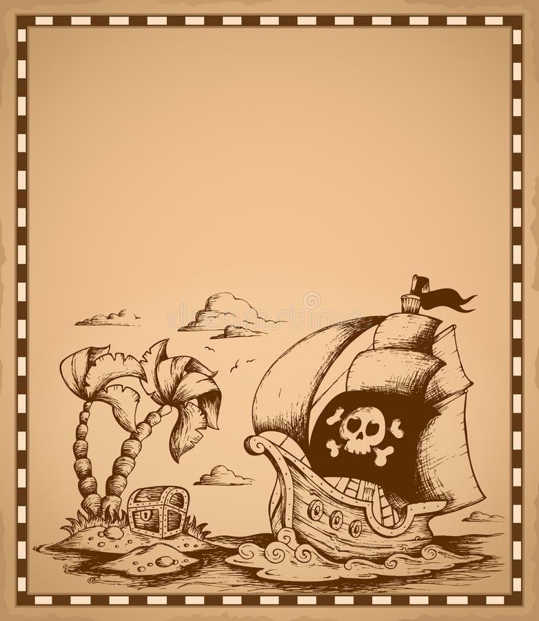 Piratkopiera temateckningen på pergament 2 royaltyfri illustrationer