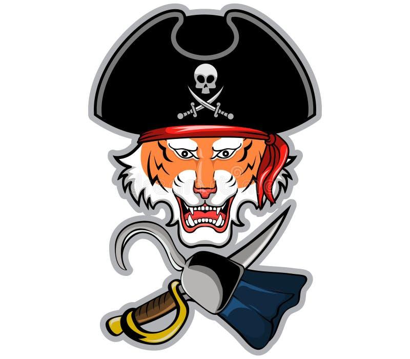 Piratkopiera tigern royaltyfri illustrationer