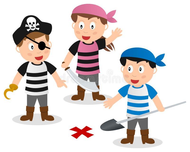 Piratkopiera ungar som söker skatten stock illustrationer