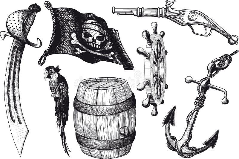 Piratkopiera uppsättningattribut stock illustrationer