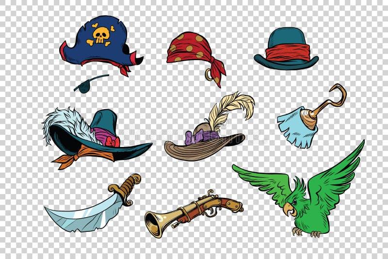 Piratkopiera uppsättningen av knivar och hattar royaltyfri illustrationer