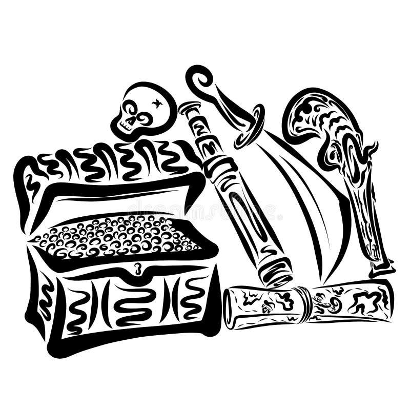 Piratkopiera uppsättningen, bröstkorgen av guld, översikten, skallen och vapen royaltyfri illustrationer