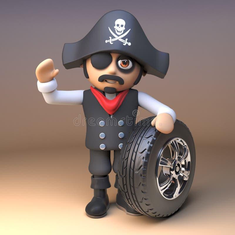Piratkopiera vågor för hatten och för ögonlappen för skalle för kapten bärande och roger för korslagda benknotor glade och rymmer vektor illustrationer