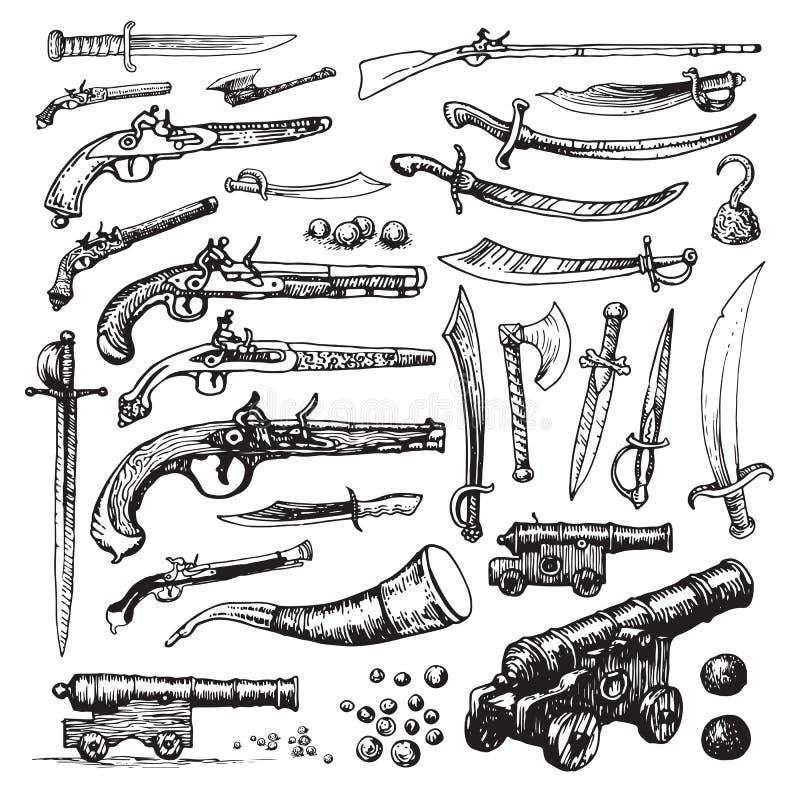 Piratkopiera vapen vektor illustrationer