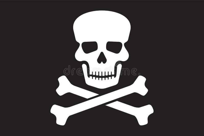 Piratkopiera vektorflaggan stock illustrationer