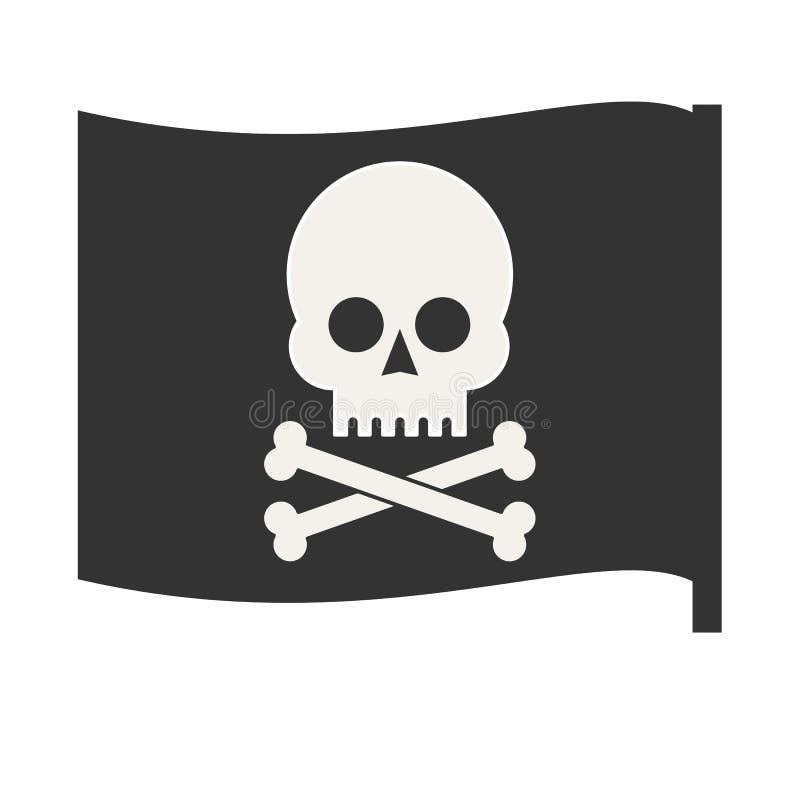 Piratkopiera vektorflaggan jolly roger stock illustrationer