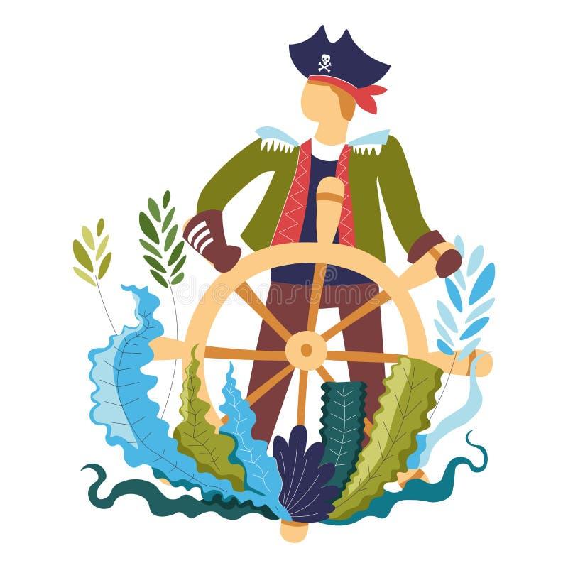 Piratkopiera vid trästyrninghjulet, kapten av skeppet stock illustrationer