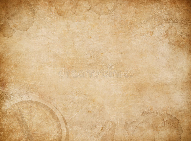 Piratkopierar översiktsbakgrund Gammal skattöversikt med kompasset arkivbilder