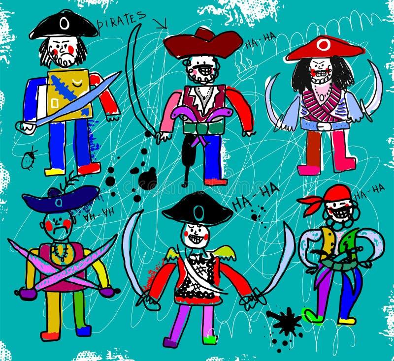 Piratkopierar stock illustrationer