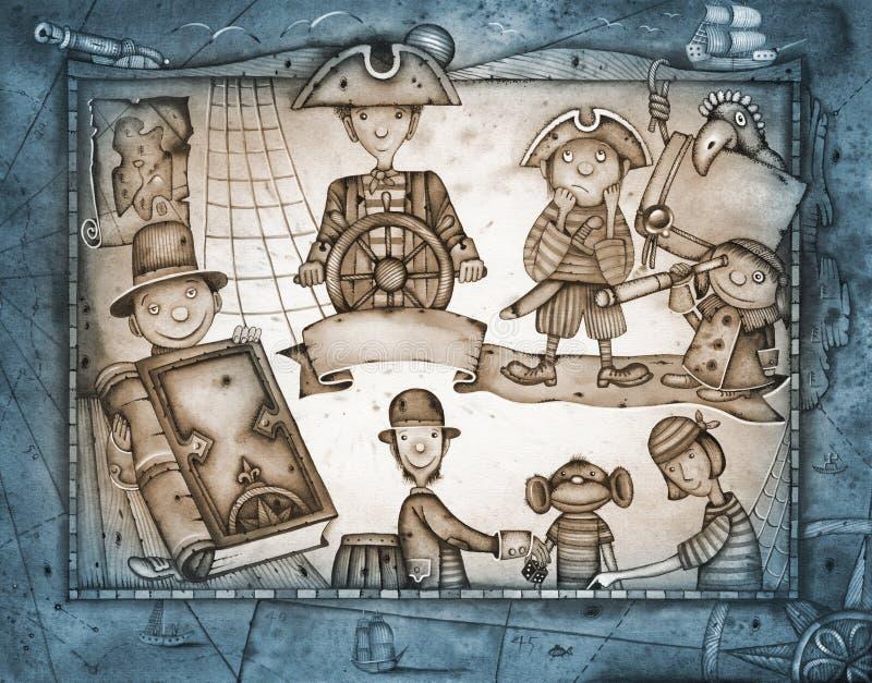 piratkopierar att leka stock illustrationer
