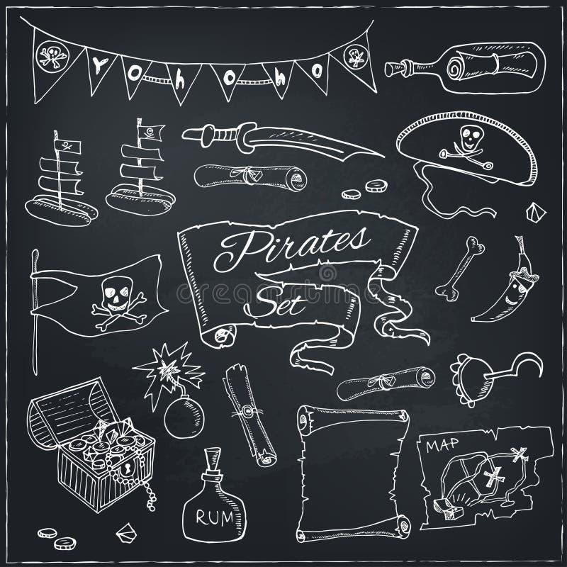 Piratkopierar den fastställda vektorillustrationen royaltyfri illustrationer