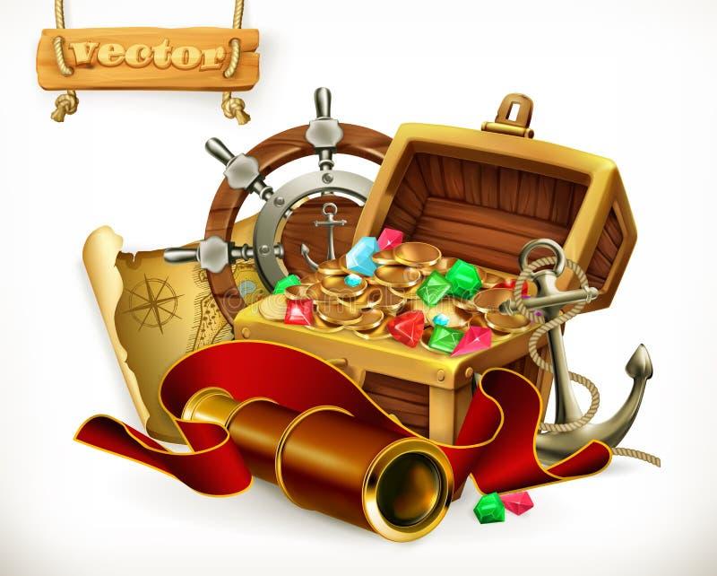 piratkopierar den gammala liggande översikten för den mässingskniven för bröstkorgmyntkompasset fulla guld- skalleskatten mycket  vektor illustrationer