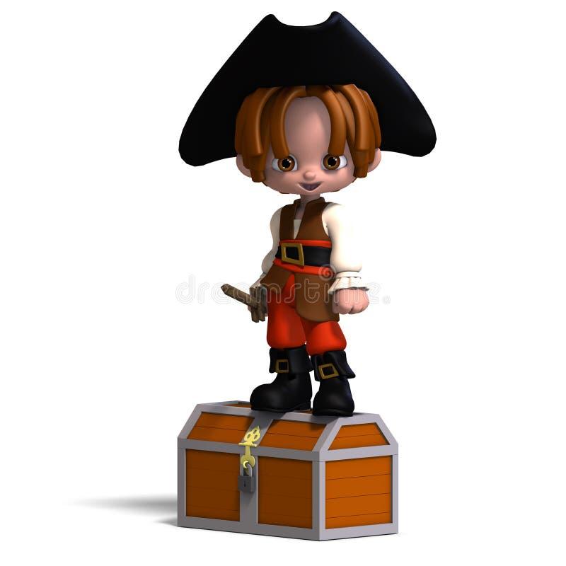piratkopierar den roliga hatten för tecknad film 3d sött royaltyfri illustrationer