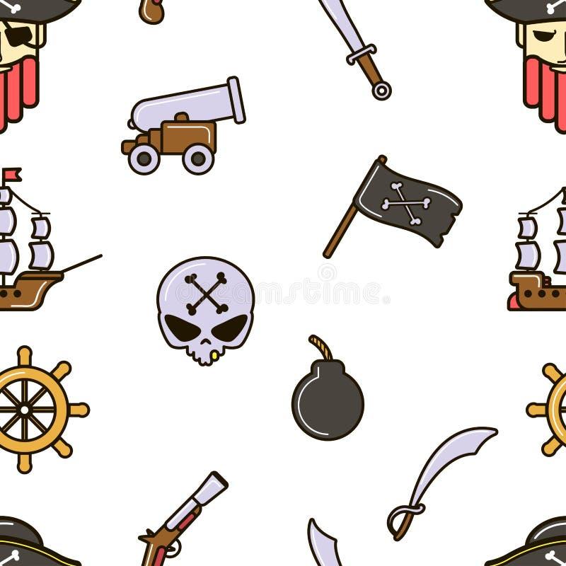 Piratkopierar den sömlösa modellen för piratkopiering skallen, och ben sänder och kanonen stock illustrationer