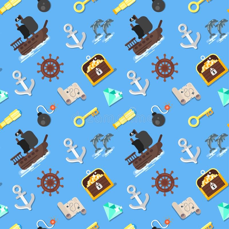 Piratkopierar den sömlösa modellen för vektorlägenhetstil med skeppet royaltyfri illustrationer